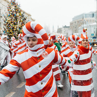 People in christmas parade
